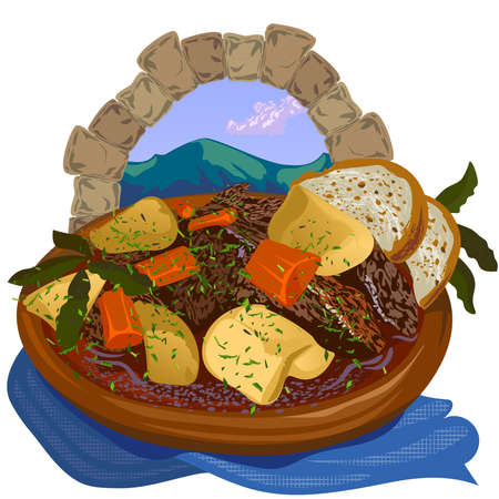 Irish national dish, meat with potatoes and carrots in a wooden plate, against the backdrop of a mountain landscape. Illusztráció