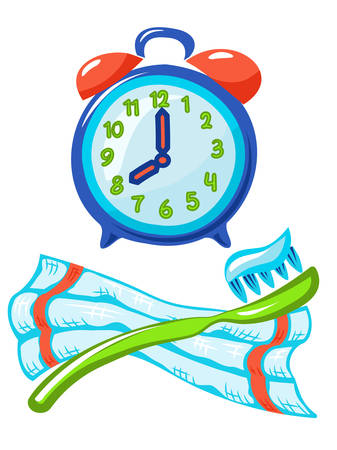 Alarm clock, toothbrush with paste, towel. On white background.