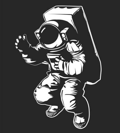Cosmonaut in a spacesuit in open space on a dark background