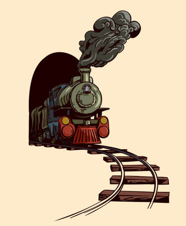 he old steam locomotive leaves the tunnel. Иллюстрация