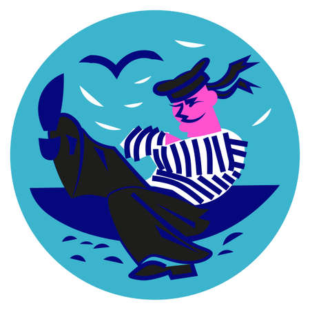 Stylized image of a dancing sailor. Icon for an avatar. Vectores