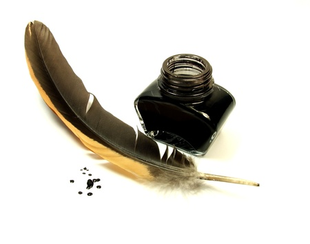 Inkwell and quill photo