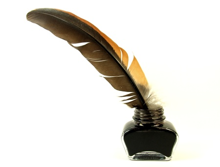 feather pen: Inkwell and quill