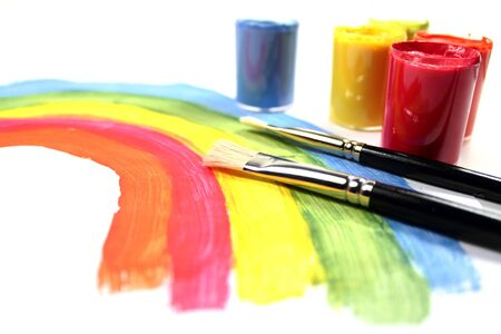 Brushes with color paints