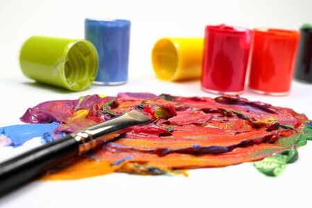 Color paint with brush Stock Photo - 15024075