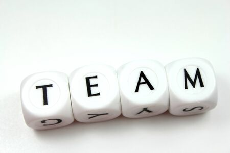 Text team made with dices of letters