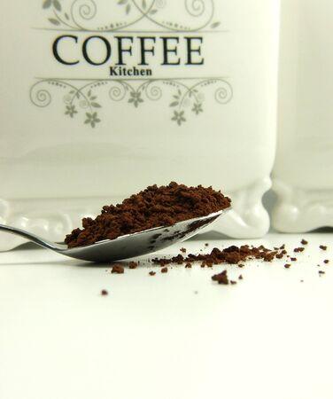 Granulated coffee on spoon