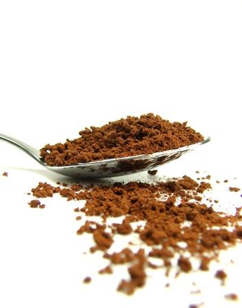 Instant coffee on spoon Stock Photo