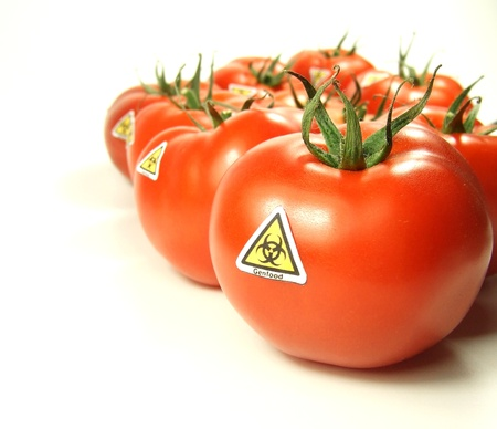 gmo: Genfood with special label signs Stock Photo