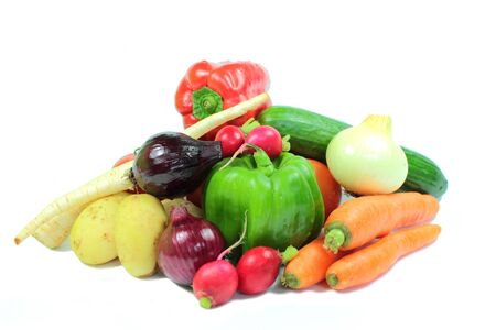 Fresh fruits and vegetables isolated on a white background Stock Photo - 15023730