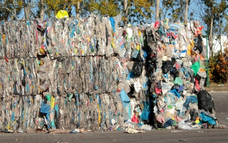 Baled plastic bags for recycling Editorial