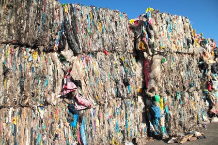 plastic waste: Baled plastic bags for recycling Editorial