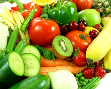 Variety of fresh fruit and vegetables photo