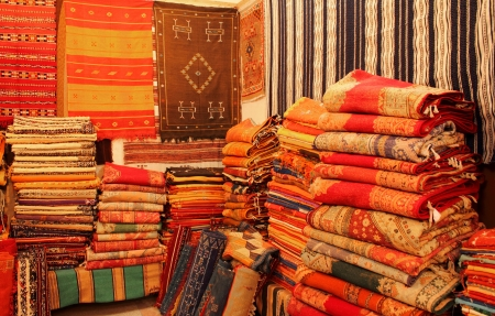 Carpets shop in Tafraout, Marocco Stock Photo