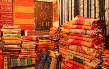 Carpets shop in Tafraout, Marocco Standard-Bild