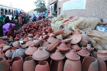 Clay wares pottery goods on the street market in Tiznit city, Marocco