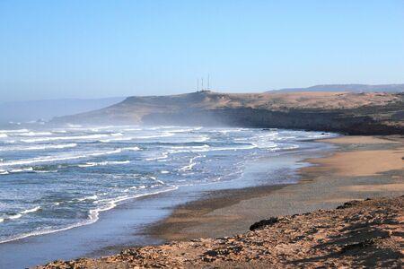Waves beach for surfing, Tamri beach, Marocco
