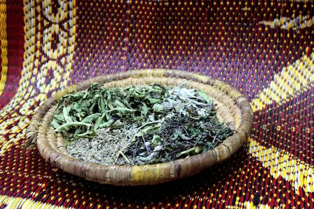 Spices for berber mint tea  Traditional drink in Morocco  Agadir souk, Morocco Stock Photo