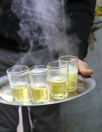 Hot mint tea, Agadir souk, Morocco photo