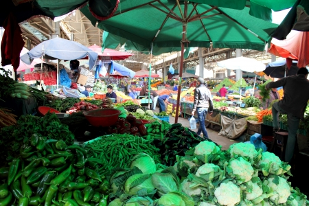 Various vegetables and fruits at market in Agadir, Morocco