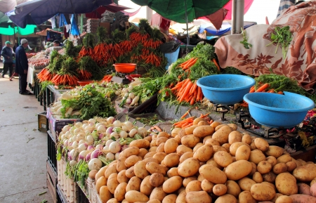 Various vegetables and fruits at market in Agadir, Morocco photo