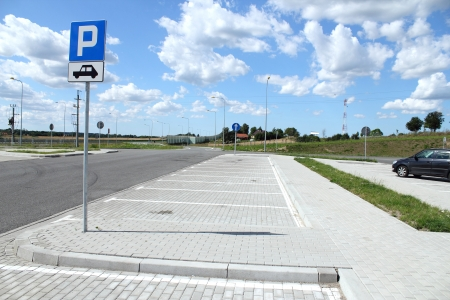 Empty parking near highway, E7 highway, Poland Stock Photo