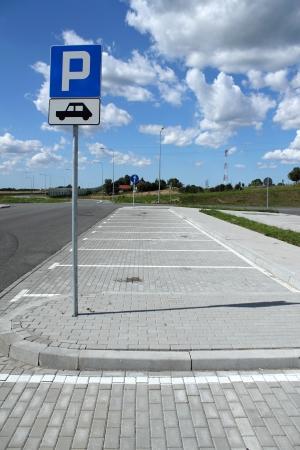 Empty parking lots Stock Photo