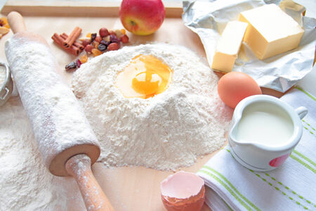 Baking cake ingredient with rolling-pin photo
