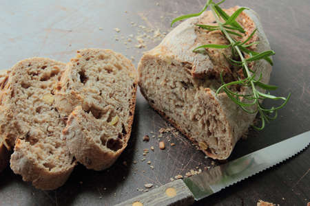 Bread made by traditional recipe with knife Stock Photo