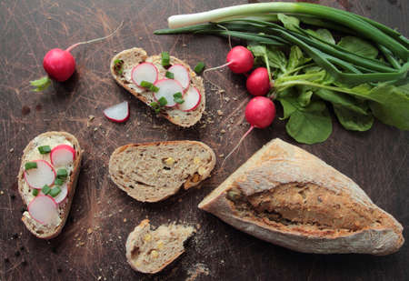 Traditional bread with fresh radish and chive
