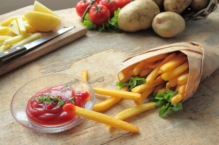 Fresh fries with ketchup