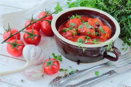 Meat balls with tomatoe sauce in a bowl
