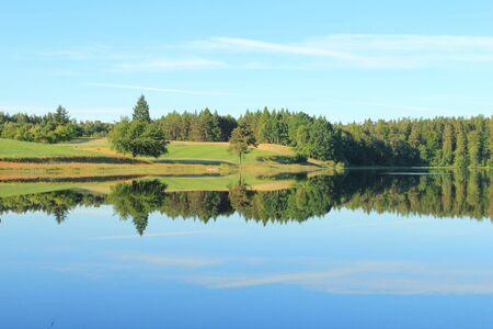lobelia: Kashubian lake in the summer. Lake Kamienne is lobelian lake and natural reserve