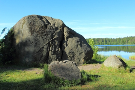 lobelia: Large erratic boulder at the lake. Devils Stone at Lake Kamienne