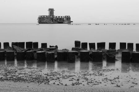 breakwaters: Testing center of torpedoes for Luftwaffe during the World War II and wooden breakwaters, Gdynia Babie Doly, Poland