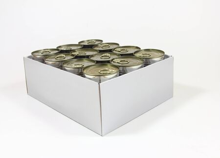 White cardboard box with aluminium cans with food