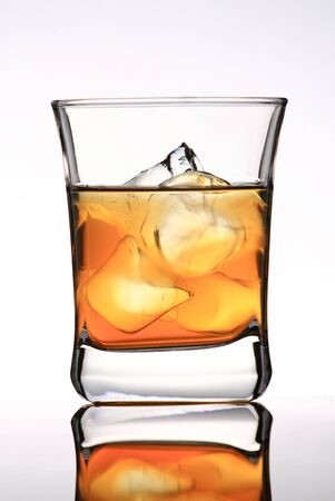 Glass with ice and strong whiskey