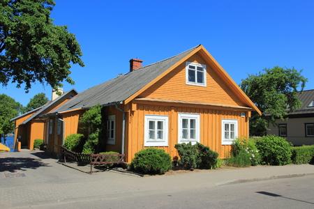 Lithuania. Trakai. Houses Trakai on Lake Galve in Lithuania Stock Photo