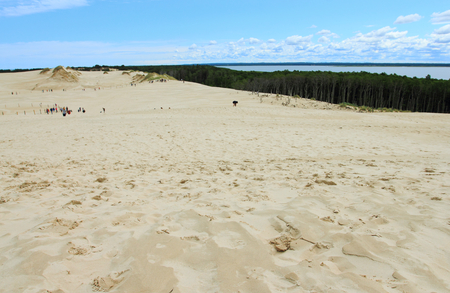 June 24, 2018: Tourist on sand dunes in Leba, Slowinski National Park, Poland