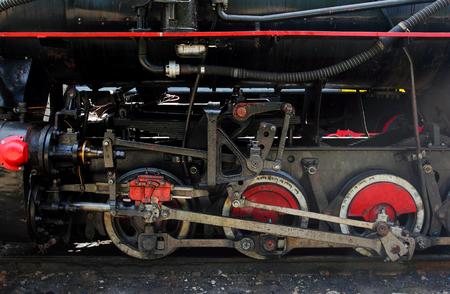 Wheels of old coal locomotive