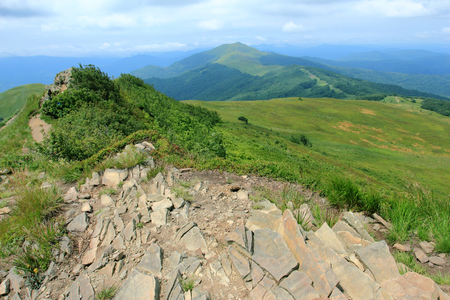 Polonina Welinska. Trekking path near mountain shelter Puchatek Hut (Chatka Puchatka), Bieszczady Mountains, Poland