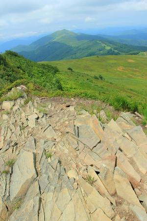Polonina Welinska. Trekking path in Bieszczady Mountains, Poland