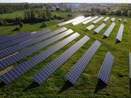 Sun reflection in solar panels, photovoltaic power plant