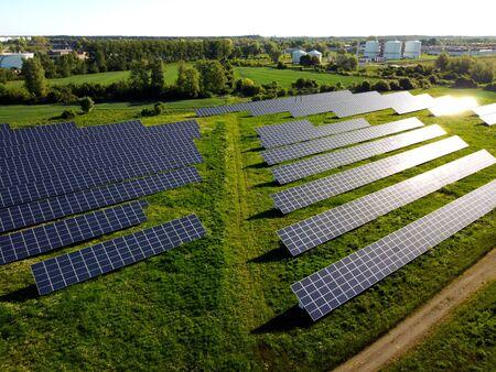 Solar panels view from above, Pomerania, Przejazdowo, Poland