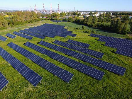 Huge photovoltaic power plant with solar panels near Gdansk city, Pomerania, Poland Standard-Bild