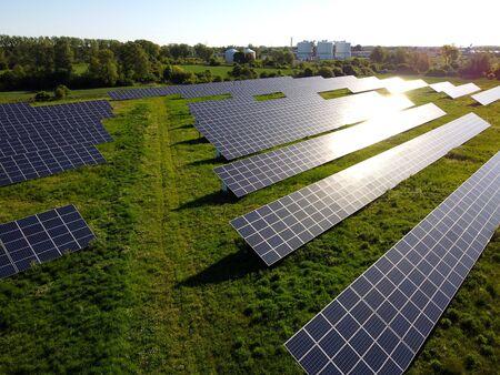Rewenable enegry production in photovoltaic power plant, Przejazdowo near Gdansk, Pomerania, Poland Standard-Bild
