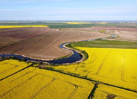 River on farmland, Zulawy Wislane, Poland