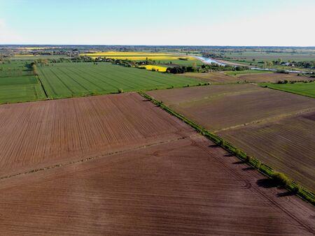 Aerial view on farmland, Zulawy Wislane, Poland Standard-Bild