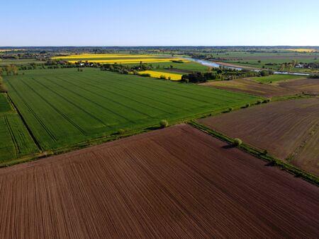 Zulawy Wislane in spring, fields from above