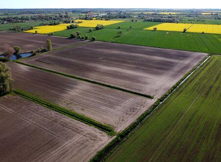 Aerial view on fields, Zulawy Wislane, Poland